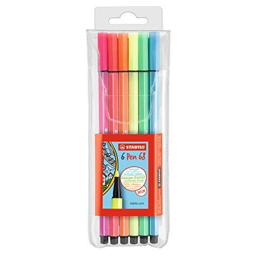 Premium-Filzstift - STABILO Pen 68 - 6er Pack - 6 Neonfarben