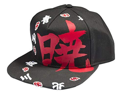 Ripple Junction Naruto Shippuden Adult Unisex Akatsuki Kanji Ring Flat Bill Snapback Hat Black/Red