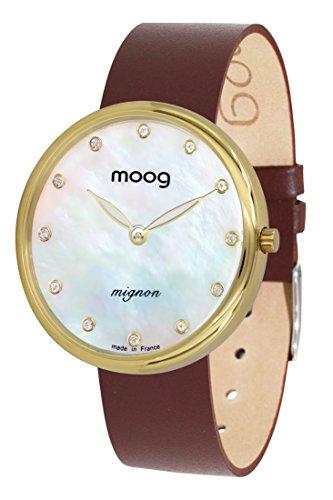 Moog Paris Mignon Reloj para Mujer con Esfera Nácar Blanca, Correa Marrón de Piel Genuina y Cristales Swarovski - M41681-A31