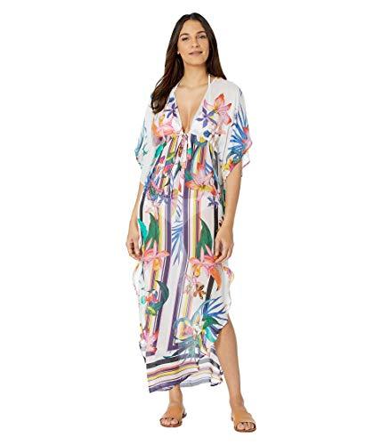 Trina Turk Women's Maxi Caftan Swimsuit Cover Up, Multi//Treasure Cove, XX-Small