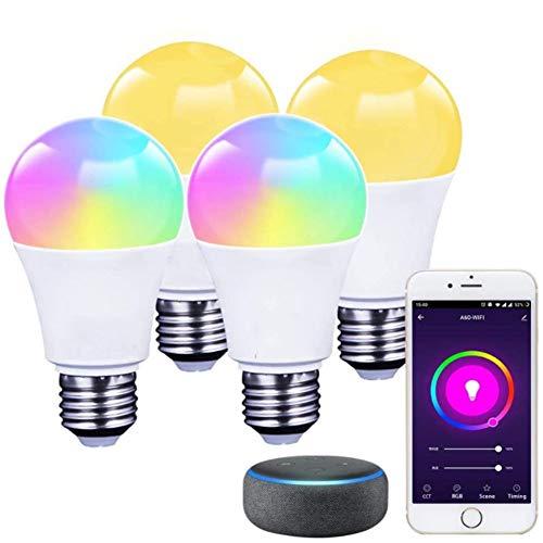 WiFi Luz LED Ajustable Inteligente 9/10W E27 Bombilla Colorida Compatible con Alexa Google Assistant IFFTTT para Control de Fonética App Control Remoto y Función de Tiempo [4 PZS]