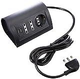 BTicino S3711GU Multipresa da Scrivania con Presa USB, 1.5A, 3500 W, 250 V, Cavo da 2 m, Grigio Antracite