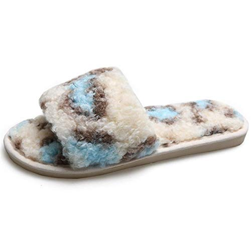Zapatillas Casa Para Mujer Terry Slip In Clog Slipper Mujer Memory Foam Fluffy Soft Leopard Print Blue...