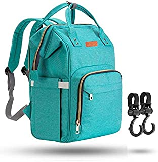 ZUZURO Diaper Bag Baby Bag - Waterproof Backpack w/Large Capacity & Multiple Pockets for Organization. Ideal for Travel Nappy Bags - W/Insulated Bottle Pocket. 2 Stroller Hooks Incl. (Turquoise)