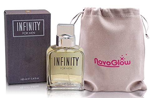 Infinity by Sandora for Men- 3.4 oz, Long Lasting 100 ml Eau de Perfume- Lavender, Mandarin Orange, Bergamot and Lemon Top Notes- NovoGlow Pouch Included