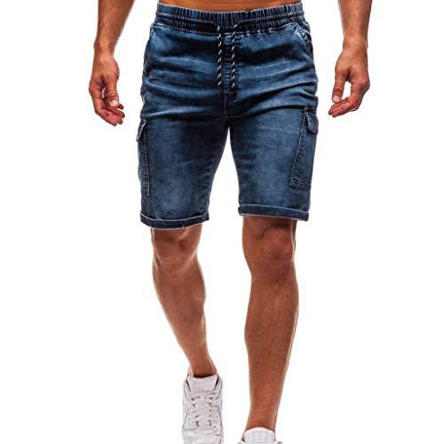 ZEFOTIM Pantalones Cortos Informales para Hombre, Pantalones Ajustados de Mezclilla para Motociclista, Pantalones Desgastados - Azul - Large