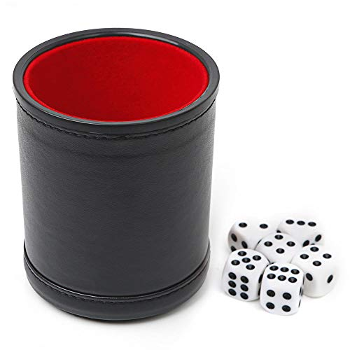 Felt Lined Professional Dice Cup - with 6 Dice Quiet for Yahtzee Game