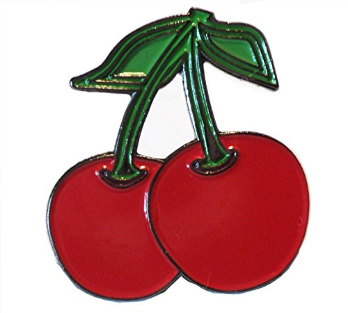Brosche mit Kirschenmotiv, aus Metall und Emaille, Rot
