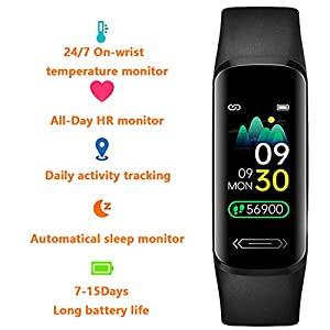 Fitness Tracker HR, Activity Tracker with Body Temperature Heart Rate Sleep Health Blood Pressure Monitor, IP68 Waterproof Fitness Watch, Step Tracker Calorie Counter Pedometer Watch for Men Women