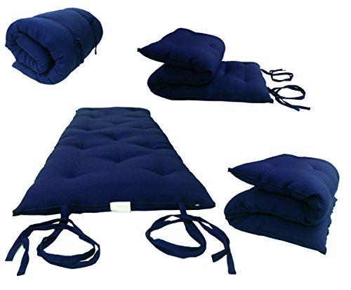 D&D Futon Furniture Full Size Navy Blue Traditional Japanese Floor Rolling Futon Mattresses, Cotton/Foam Cushion Mats