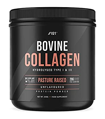 Grass Fed Collagen Protein Powder - Type I & III Pasture Raised New Zeland Bovine Hydrolysed Collagen Peptides - Halal, Kosher, Unflavoured, 200g from ALPHA01