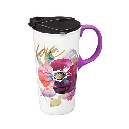 Love Flower Ceramic Travel Cup - 5 x 7 x 4 Inches