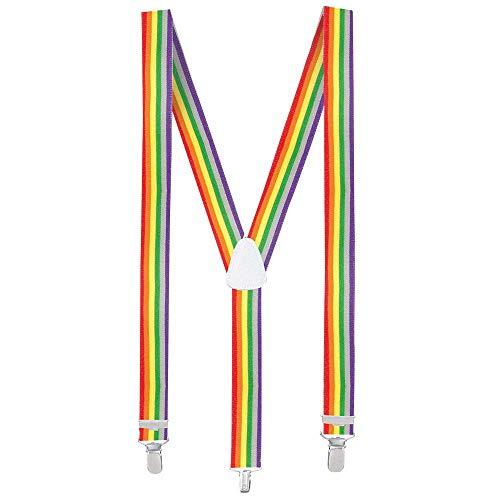 Boland 00596 - Hosenträger Rainbow, one size, größenverstellbar, regenbogenfarben, bunt, Clown, Karneval, Halloween, Fasching, Mottoparty, Verkleidung, Theater