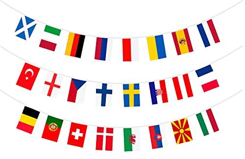 EM 2021 Fußball Wimpelkette Flaggen Riesige Länge Top 24 Nationen für Fußballnacht, Garten Banner, Bars & Pubs & Gartendeko