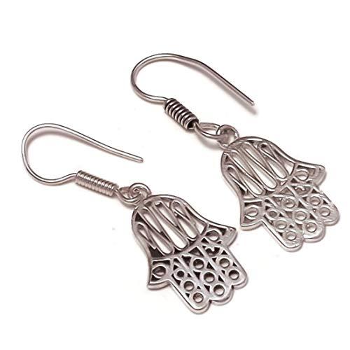 Hamsa - Pendientes chapados en plata hechos a mano con filigrana, el mejor regalo para mujeres y niñas