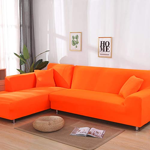 yuzhixin Extensible Protector para Sofás Funda De Sofá,Forma De L Cubre Sofá Color Sólido Esquin Funda para Sofá,Salón Decorativo para Hogar Fundas Sofá-Naranja 3 plazas