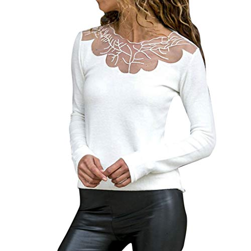 YKARITIANNA Womens Soft Comfy Sweatshirts Blouses Lace Patchwork Elastic Pullover Long Sleeve Crop Shirt Tops Blouse