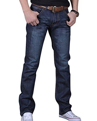 Vaqueros Recto Slim Denim Pantalones Jeans Elasticos para Hombre Azul Marino 36
