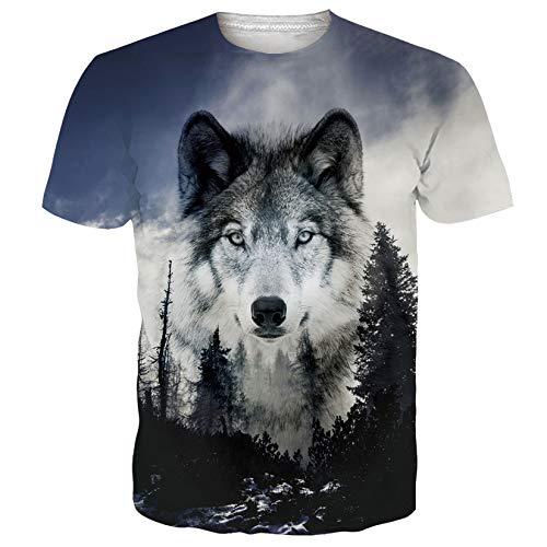 SunFocus Camiseta Hombre Verano 3D Estampado de Lobo Camisetas Manga Corta Gráfico...