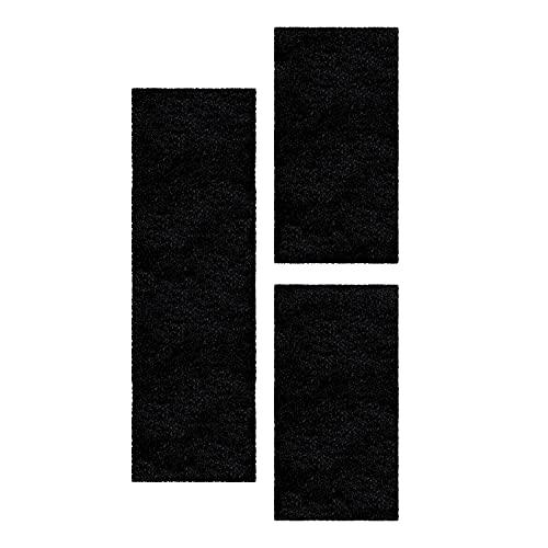 SIMPEX Set de Corredores Alfombra Set Alfombra Pelo Largo 3 Partes Hilo Brillante Negro, Color:Negro, Bettset:2x80x150+1x80x250