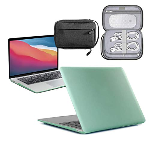 GUPi - Green Hard Shell Case, Cover with Water Resistant Accessory Bag for Apple MacBook Pro [13-inch MacBook A2179] - 2020