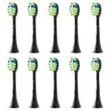 Brightdeal Cabezales de Repuesto para Philips Sonicare - Compatible con Philips Cepillo de Dientes Eléctricos, Cabezales de Recambio para DiamondClean, ProtectiveClean, EasyClean Negro 10 Unidades