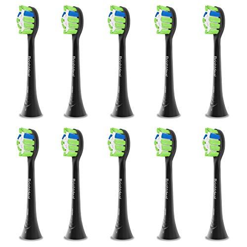 Brightdeal Ersatzbürsten für Philips Sonicare - Kompatibel mit Philips Sonicare Elektrische Zahnbürste, Zahnbürstenköpfe für DiamondClean, ProtectiveClean, HealthyWhite, EasyClean 10 Stück Schwarz