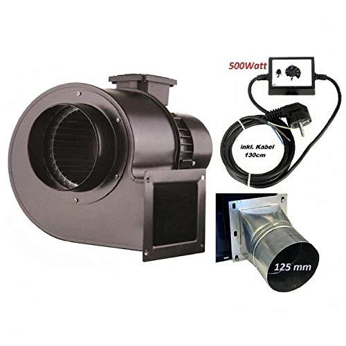 Industrie Radial Gebläse OB200M mit 500 Watt Drehzahlregler und 4 eck-rund Flansch, Zentrifugal Saugventilator, Radialgebläse ventilator lüfter ablüftung ablüfter