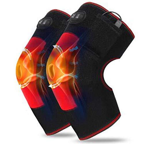 GLJY Masaje con Rodilleras calefactadas, Almohadilla de Calentamiento eléctrica terapéutica, ajustes de Calor y Masaje 3, masajeador para músculos, Alivio del Dolor, relajación (5V)