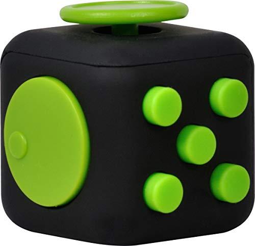 Spacer Anti-stress dobbelsteen met 6 verschillende functies, (Fidget Cube), Zwart/Groen