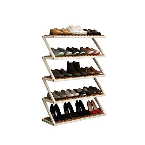 Zapatero Rack de zapatos de pino laminado y ensamblaje de armazón de acero Rack de zapato multifuncional de múltiples capas Almacenamiento de baño económico, almacenamiento de cocina, almacenamiento d