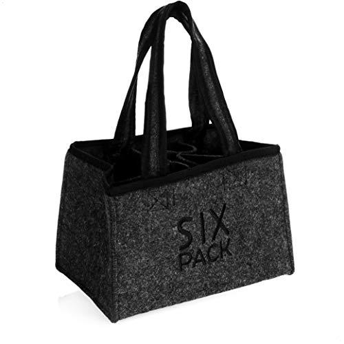 COM-FOUR Bolso de hombre - bolsa de fieltro para bebidas - bolsa de fieltro para 6 botellas - soporte para 6 botellas de hasta 0,5 L, gris/negro, 23 x 15 x 15 cm (Motivo 3-1 pieza)