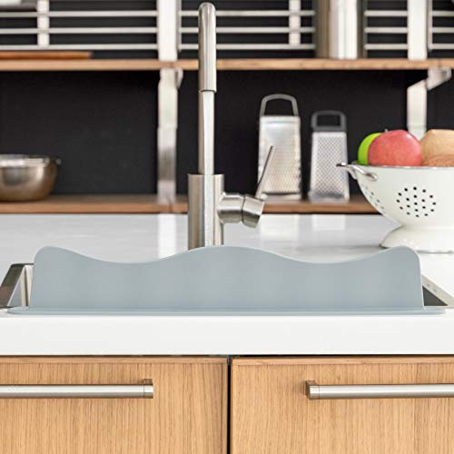 Blue Ginkgo Sink Splash Guard - Premium Silicone Water...