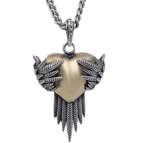VAWAA S925 Colgante de Amor de Plumas de Plata Pura para Hombres y Mujeres Alas Salvajes de Moda Colgante de Mujer de corazón de melocotón de Moda