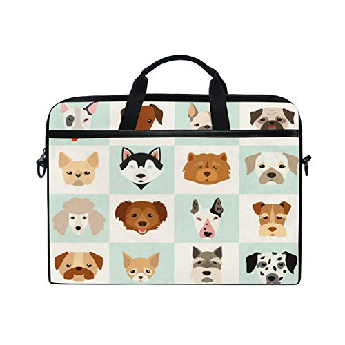 WowPrint Laptop Sleeve, Cute Dog Puppy Pattern Laptop Case Shoulder Strap with Handle Portable Notebook Computer Bag for 13 13.3 14 15 inch