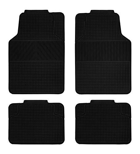 Vip - Alfombra de Goma Universal REVERSIBLE , color negro, 4 piezas. Fabricada en PVC.