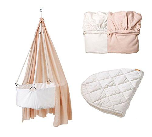 Leander Berceau Blanc avec matelas TRÄUMELAND, crochets de plafond, ciel (voile) Soft Pink, original Lot de 2 draps housse Soft Rose/blanc et original pour matelas