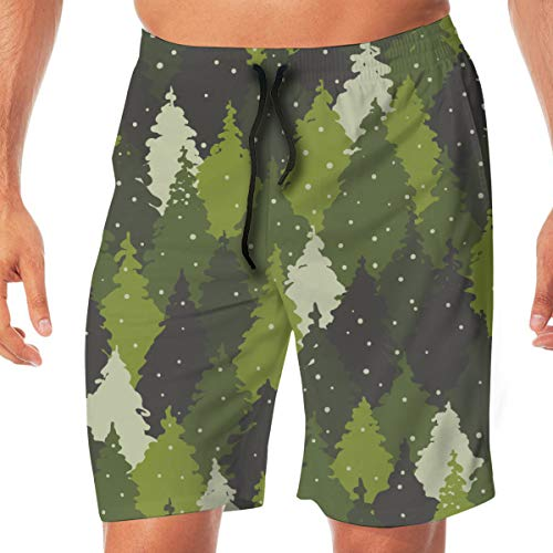 CVDGSAD Beach Forest Landscape Camouflage Colors Parks Herren Quick Dry Swim Trunks Boardshorts