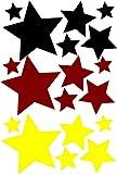 18 Stück selbstklebende Sterne Autoaufkleber fbw008 Wandtattoo, Fussball WM EM Aufkleber fürs Auto Fanartikel Fahne Deutschland Fußball