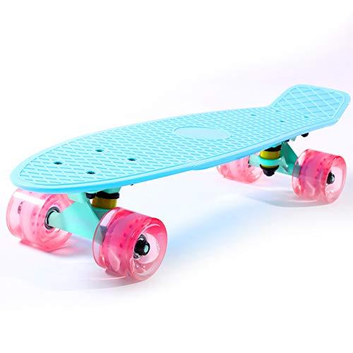Cruiser Skateboard for Kids Ages 6-12 Completed Skateboards for Girls Boys Beginners, Gift Idea Mini 22' Plastic Skate Board