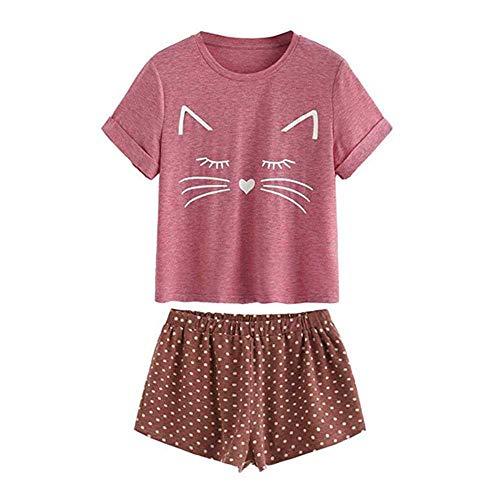 WANGJIE Pyjamas Frauen Pyjama Nachtwäsche Set Katze Kurzarm Top Punkte Shorts Nachtwäsche Sets Pyjamas Frauen Baumwolle Pyjama