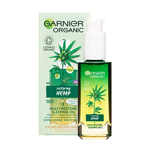 Garnier Organic Hemp Multi-Restore Facial Night Sleeping Oil 30 ml, Soothing & Nourishing Face Oil for Healthy Glowing Skin, Enriched with Vitamin E & Organic Hemp Seed Oil