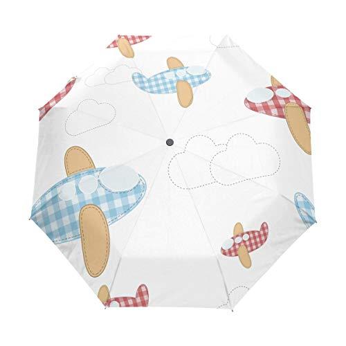 FANTAZIO drievoudig Travel Paraplu Raster Vliegtuig In Air auto open paraplu