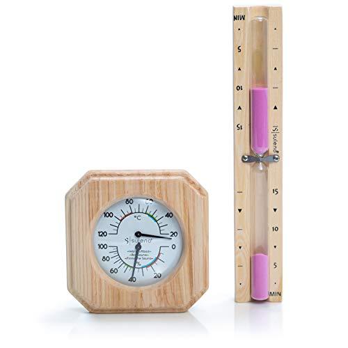SULENO Sauna-Set ANNA 2-teiliges Saunazubehör | Klimamesser Sanduhr Saunathermometer Saunahygrometer Klimastation