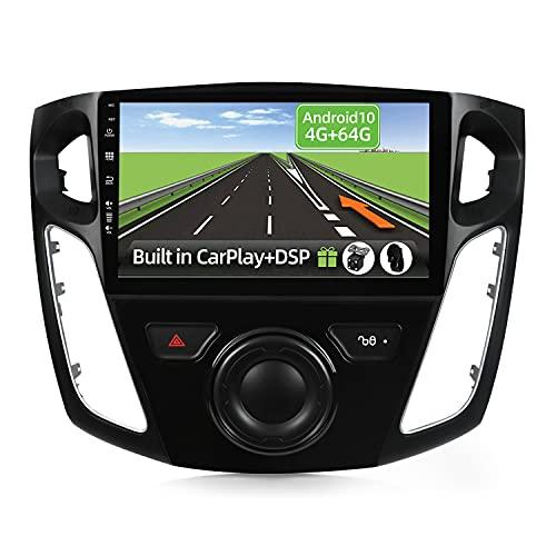 YUNTX Android 10 2 Din Autoradio Adatto per Ford Focus(2012-2015)-4G+64G-[Integrato CarPlay/Android auto/DSP]-Gratuiti 4LED Camera-Supporto DAB/Controllo del Volante/360 Camera/Bluetooth/MirrorLink