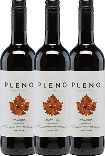 3er Paket - Pleno Tempranillo Tinto DO 2018 - Bodegas Agronavarra | trockener Rotwein | spanischer Wein aus Aragonien | 3 x 0,75 Liter