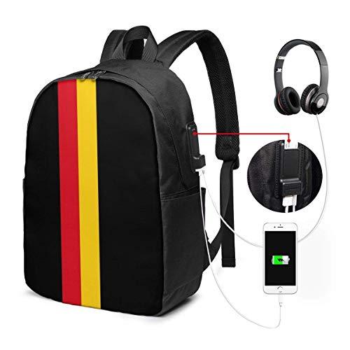 NA Laptop-Rucksack mit italienischer Flagge, mit USB-Ladeanschluss, für Damen, Herren, Schule, Studenten, Freizeit, Wandern, Reisen, Tagesrucksack Einheitsgröße Deutsches Erbe Symbole