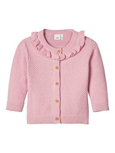 NAME IT Baby-Mädchen NBFDIVIA LS Knit Card Strickjacke, Pink Nectar, 74