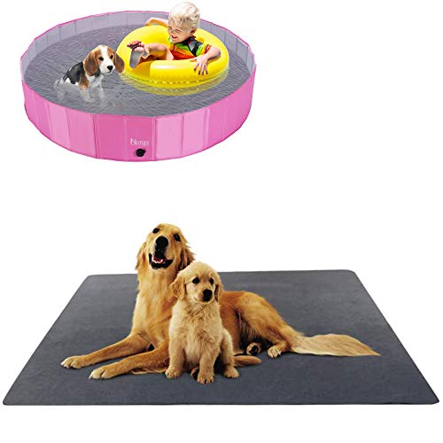 """NHILES Portable Pet Dog Pool (63"""" Diameter and 12"""" Deep) and Upgrade Reusable Pee Pads,Washable Puppy Pee Pads with Fast Absorbent, Waterproof, Reusable, Non-Slip"""