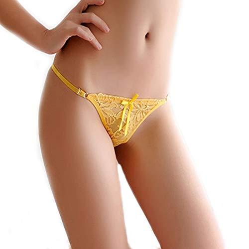HTRUIYATY Borlas de Mujer Bowknot Cintas Tangas de Encaje Sexy Bragas Ajustable Tanga Ropa Interior (Amarillo) (Ropa)
